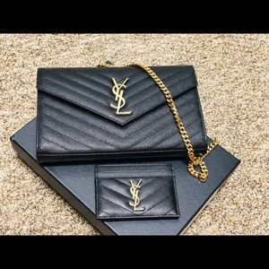 Authentic YSL Wallet-on-Chain and Card Holder Set